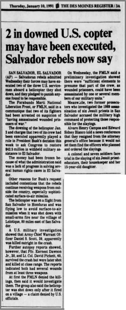 1991 1 10 Des Moines Register 2 in downed US copter may have been executed salvo rebels now say