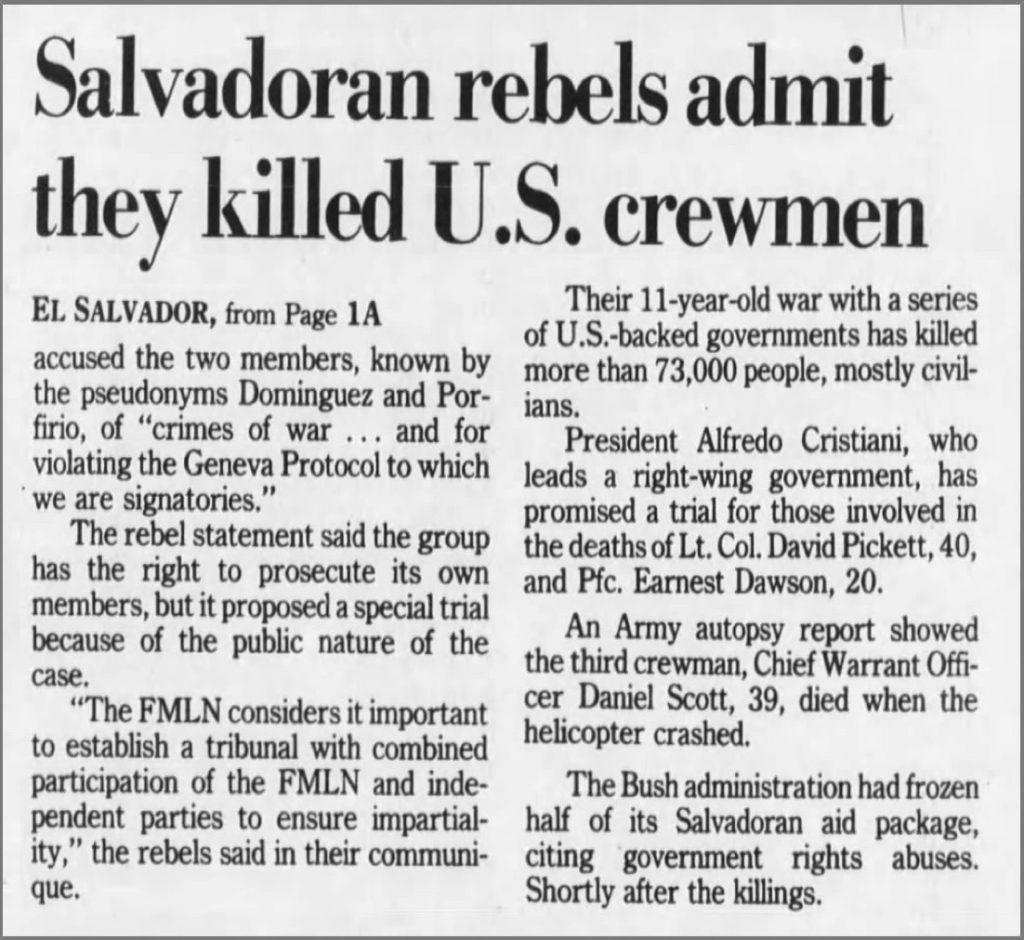 1991 1 22 Detroit Free Press Salvadoran rebels admit they killed US crewmen