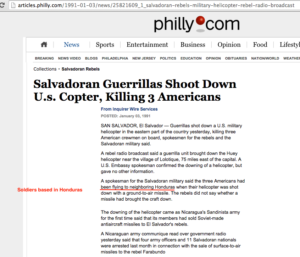 1991 1 3 Philly salvadoran huerrilas shoot down US helo kill 3