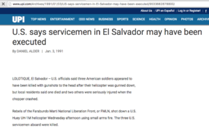1991 1 3 UPI US says servicemen in El Sal may have been executed