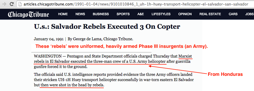 1991 1 4 Chicago Tribune Salvador rebels executed 3 U.S.