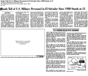 1991 1 4 Wash Post Death Toll US troops in El Salvador st 15