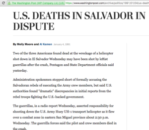 1991 1 4 Wash Post US Deaths in Salvador in Dispute