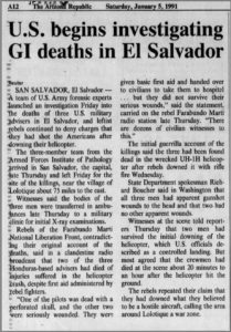 1991 1 5 Ariz Rep US investigates GI deaths in El Sal