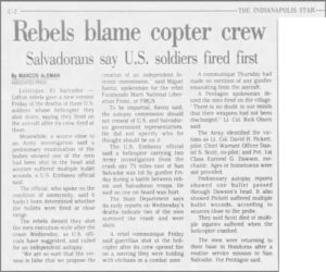 1991 1 5 Indianopolis Star Rebels blame copter crew Salvadorans sat US soldiers fired first