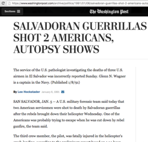 1991 1 6 Wash Post FMLN shot 2 American Autopsy shows