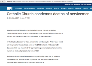 1991 1 7 UPU Catholic church condemns deaths of servicemen