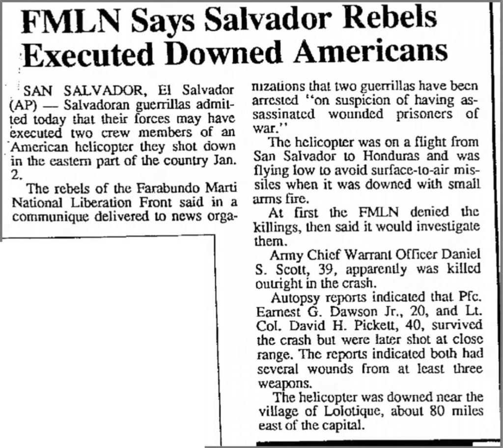 1991 1 9 Daily Sitka Sentinel FMLN says Salvador rebels executed downed American