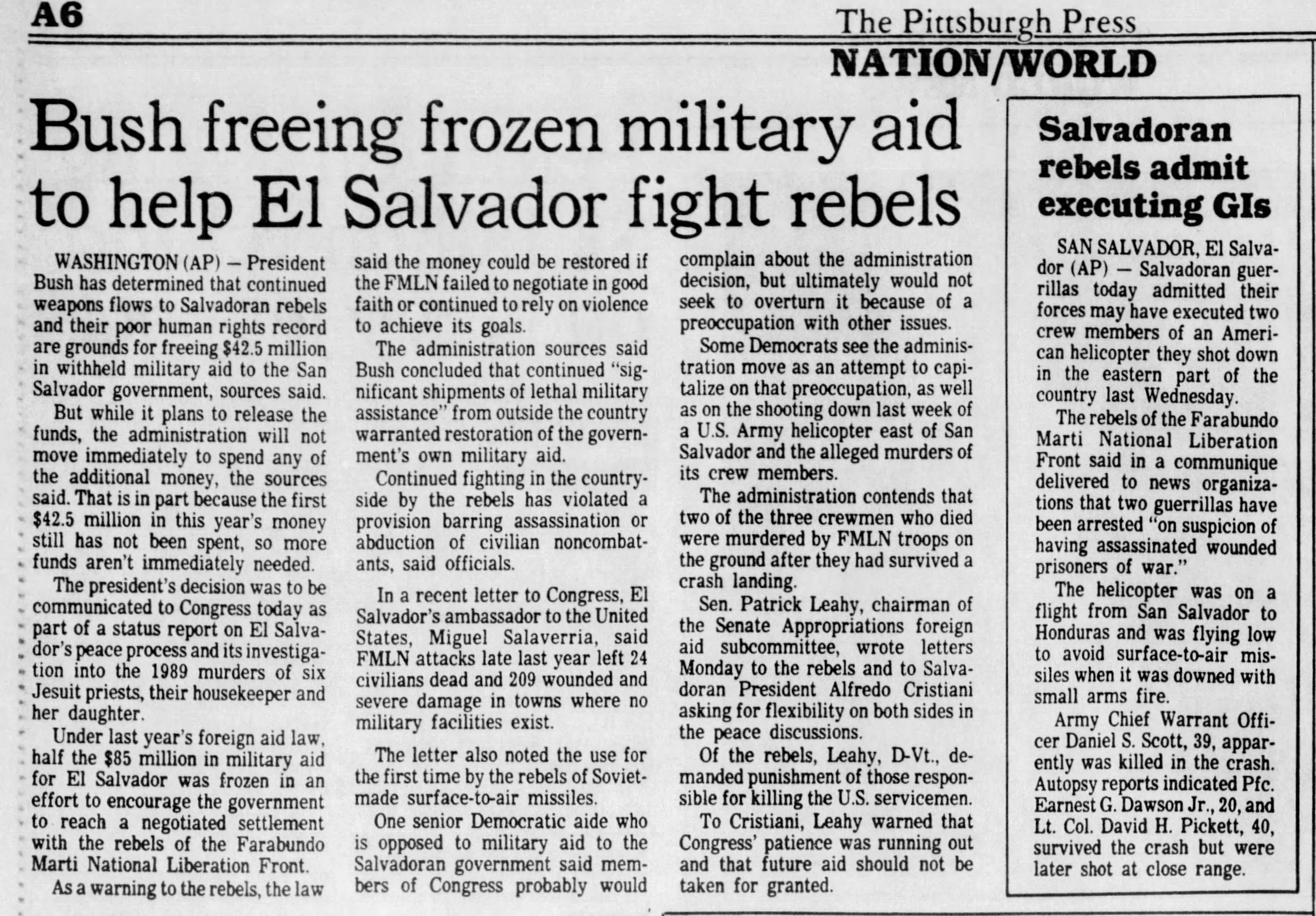 1991 1 9 Pitt Press Bush freeing frozen military aid to help El Sal fight rebels