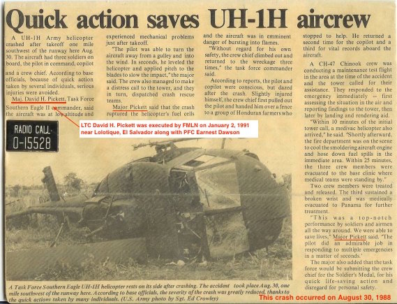 1988 8 30 JTF-Bravo News Quick action saves Huey crew